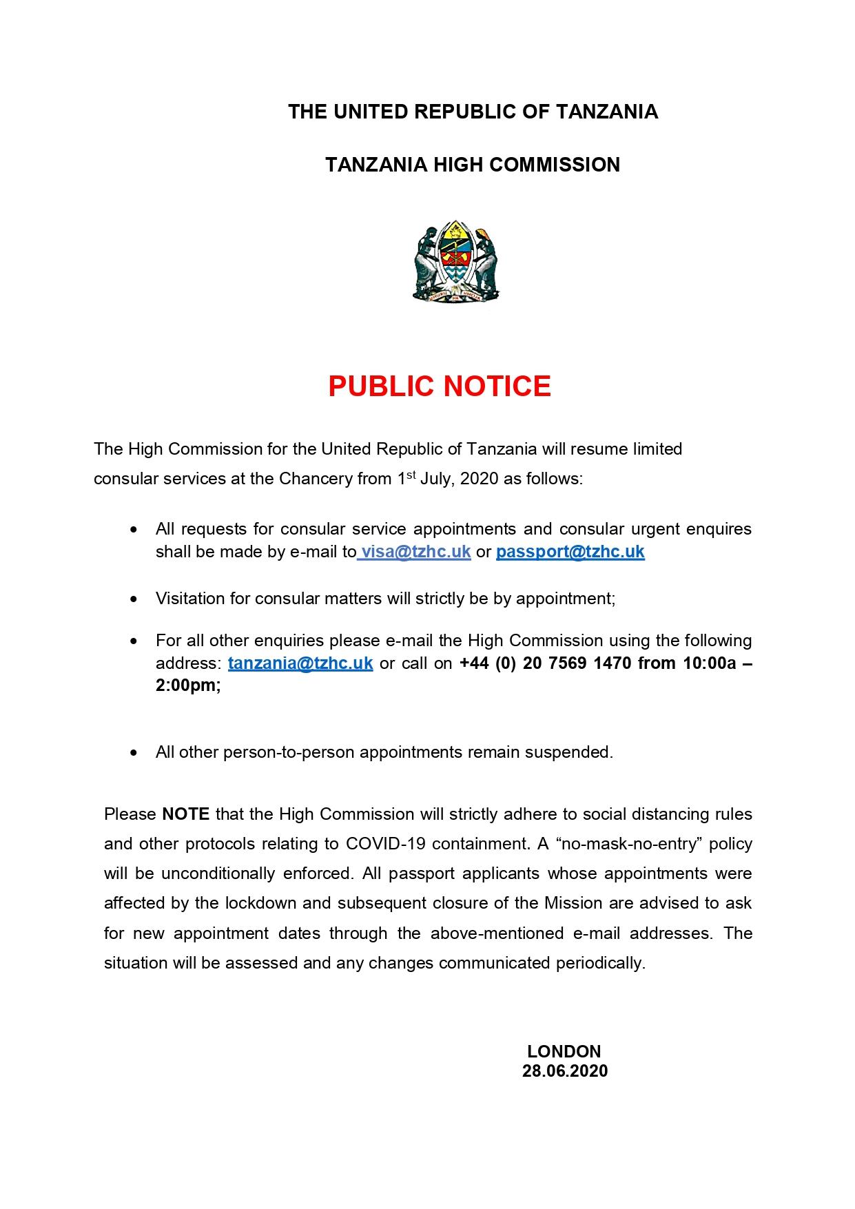 Visa Application Tanzania High Commission